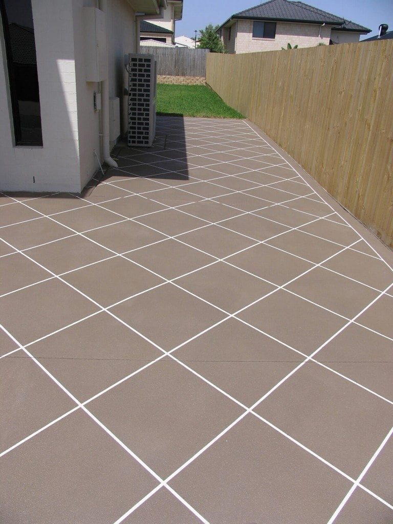Basic Diamond Tile Pattern - Brown Decorative Concrete Resurfacing Colour, Diamond Pattern.